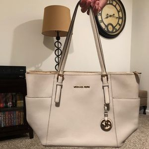 Michael Kors white tote bag